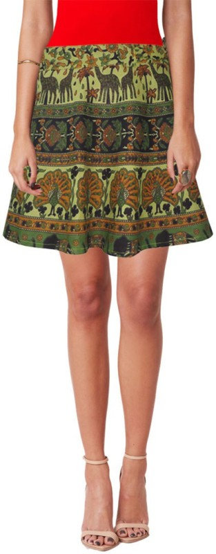 Sttoffa Printed Women's Wrap Around Light Green Skirt