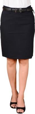 LGC Solid Women's Straight Black Skirt