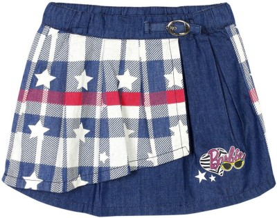 Barbie Checkered Girl's Pleated Blue Skirt