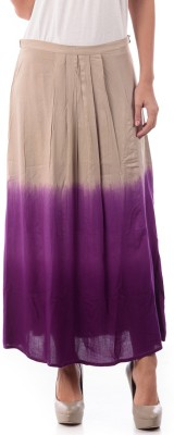 House of Tantrums Printed Women's Pleated Beige, Purple Skirt