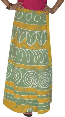 Marusthali Printed Women,s Wrap Around Green Skirt