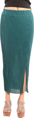 Showoff Solid Women's Straight Green Skirt