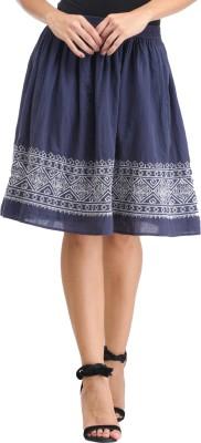 Amirich Embroidered Women's A-line Blue Skirt
