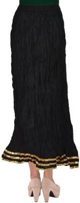 TheDarziClub Solid Women's Wrap Around Black Skirt