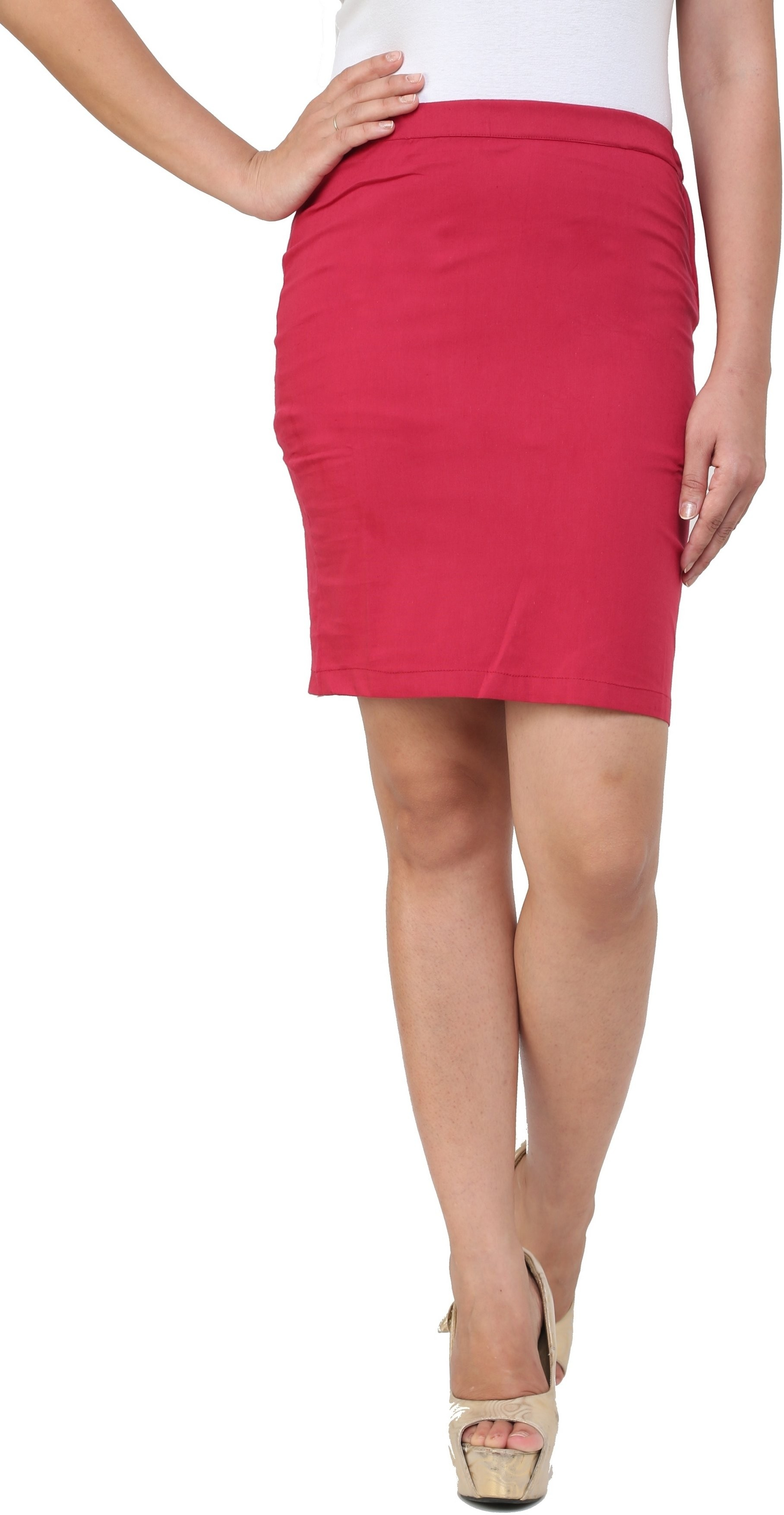 Cottinfab Solid Womens Pencil Maroon Skirt