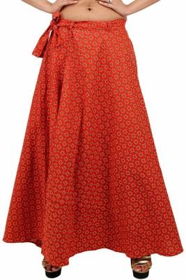 Indi Bargain Printed Women's Wrap Around Red Skirt