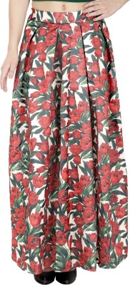 Svt Ada Collections Floral Print Women's Regular Beige Skirt