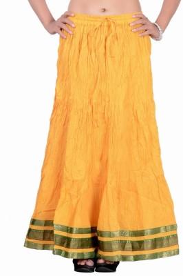 Jaipur Kala Kendra Solid Women's Regular Yellow Skirt