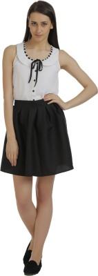 Holidae Solid Women's Regular Black Skirt