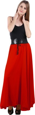 Raabta Fashion Solid Women's A-line Red Skirt