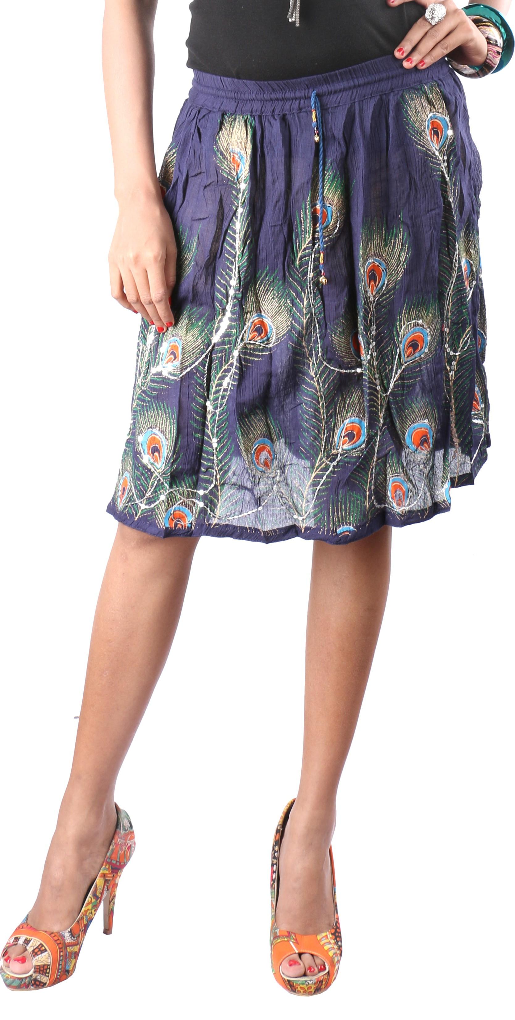 Indiankala4u Printed, Self Design Womens Broomstick Dark Blue Skirt