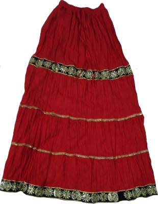 Zapon Solid Women's A-line Red Skirt