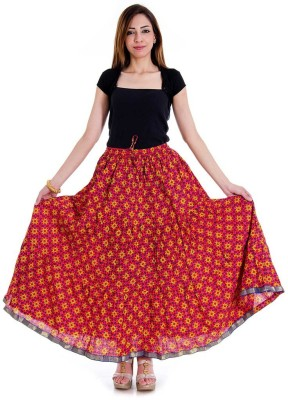 Halowishes Geometric Print Girls Wrap Around Multicolor Skirt