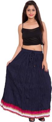 Wardtrobe Solid Women's Regular Blue Skirt