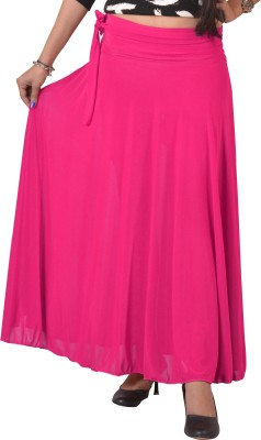 Ace Solid Women's A-line Pink Skirt