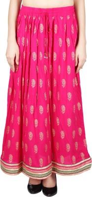 Franclo Printed Women's Regular Pink Skirt