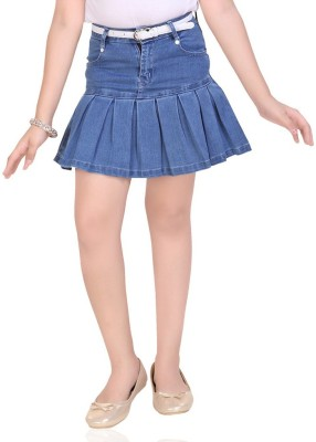 Mint Solid Girl's A-line Blue Skirt