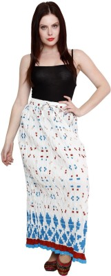 Pistaa Printed Women's A-line White Skirt