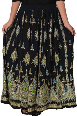 Fashionmandi Printed Women's A-line Black Skirt