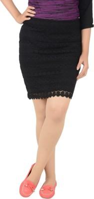 Merch21 Solid Women's Regular Black Skirt