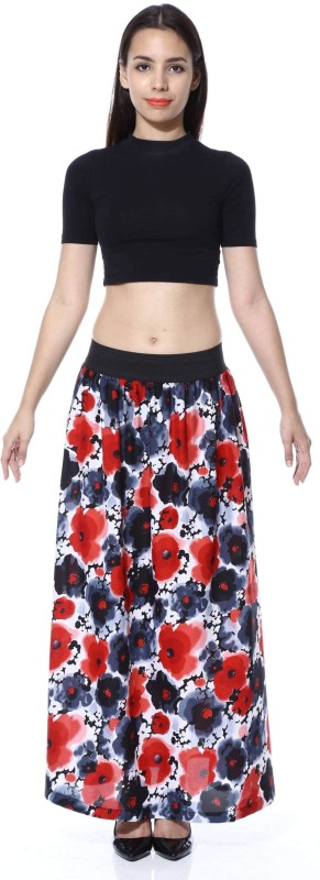 FabnFab Floral Print Women's A-line Red, Black Skirt