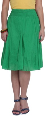Studio West Solid Women's Regular Green Skirt