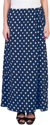 Essential Elements Polka Print Women's Gathered Blue Skirt