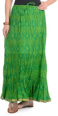 Home Shop Gift Printed Women,s Broomstick Green Skirt