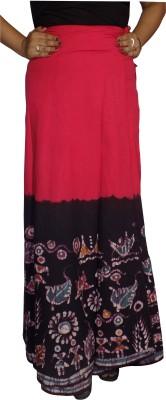 KheyaliBoutique Graphic Print Women's Wrap Around Pink, Black Skirt