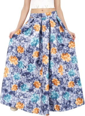Svt Ada Collections Floral Print Women,s Regular Blue Skirt