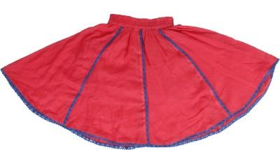 Tillu Pillu Solid Girl's Regular Red Skirt