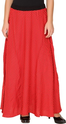 Amari West By INMARK Polka Print Women's A-line Red Skirt
