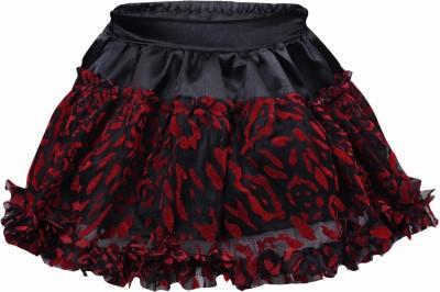 Bio Kid Embellished Baby Girl's Gathered Black, Red Skirt