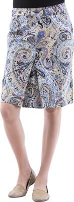 Aarr Printed Women's Straight Blue Skirt