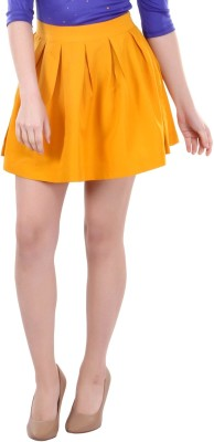 Street 9 Solid Women's Pleated Yellow Skirt