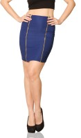 Miss Chase Solid Womens Straight Blue Skirt