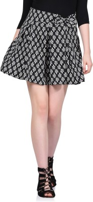 LA ATTIRE Printed Women's A-line Black Skirt