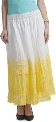 Bohemian You Self Design Women's A-line White, Yellow Skirt