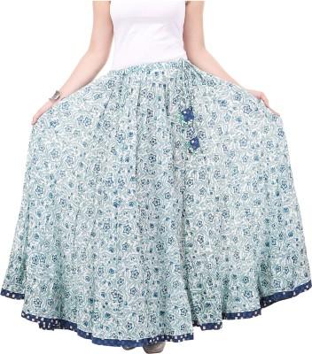 chidiyadesigns Printed Women's Gathered White, Green Skirt
