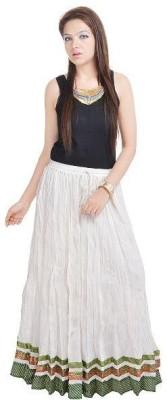 Navya Creations Printed Women's Straight White Skirt