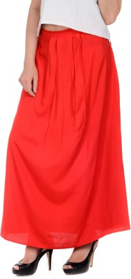 House of Tantrums Solid Women's Pleated Red Skirt