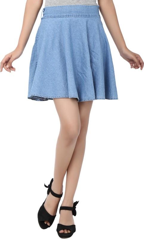 Zachi Solid Women's Straight Blue Skirt