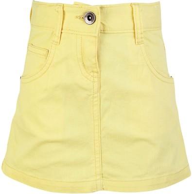 Dreamszone Solid Girl's Regular Yellow Skirt