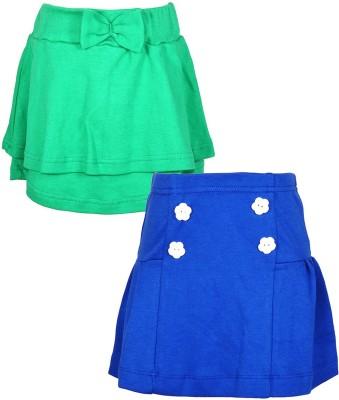 Lil Orchids Embellished Girl,s Regular Green, Blue Skirt