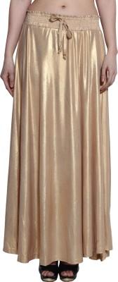 LGC Solid Women's A-line Gold Skirt