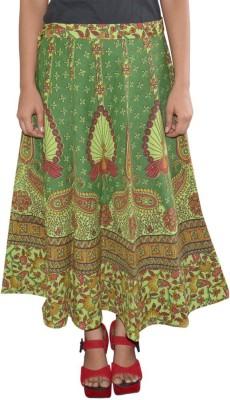 Shreeka Printed Women's Wrap Around Green, Maroon Skirt