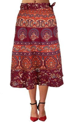 Shopatplaces Self Design Women's Wrap Around Maroon Skirt
