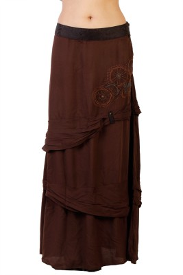 Ebry Embroidered Women's Straight Brown Skirt