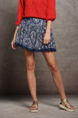 Sixes and Sevens NYC Floral Print Women's Gathered Dark Blue Skirt