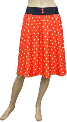 GraceDiva Polka Print Women's Pleated Orange, White Skirt